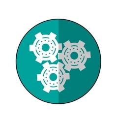 Gear wheel engine cog icon shadow green vector