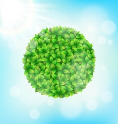 Green leaves circle frame with sun on sky vector image