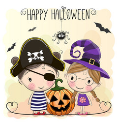 Halloween card with two girls vector
