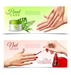 Hand care cosmetics 2 realistic banners vector