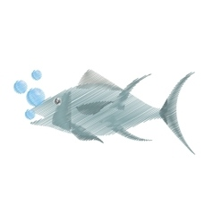 Hand drawing atun fish sealife food bubbles vector
