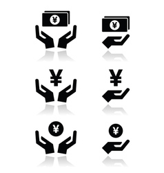 Hands with yen banknote coin icons set vector image