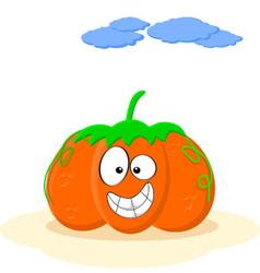 Happy Smiling Orange Cartoon Pumpkin vector image vector image