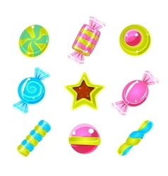 Hard candy colorful cute simple icons set vector