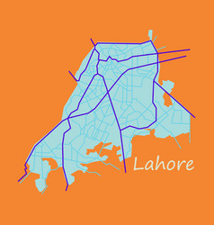 lahore city map color flat panoramic vector image vector image