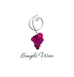 logo wine club red grapes and curl vector image vector image