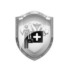 Metallic shield of doctor with medical tools vector