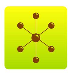 Molecule sign brown icon at vector