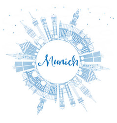 outline munich skyline with blue buildings and vector image