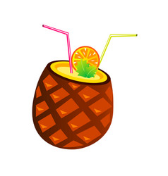 pineapple cocktail with tubes and orange vector image vector image