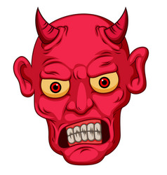 red cartoon style devil face vector image