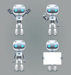 robot different poses innovation technology vector image