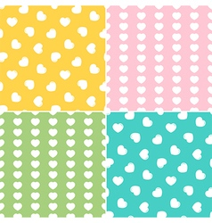 Set collection of seamless patterns with hearts vector image vector image