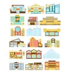 Shopping mall buildings exterior design vector