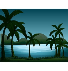 Silhouette nature scene with coconut trees vector