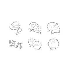 speech icon set outline style vector image