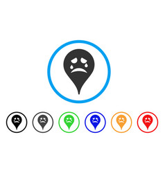 Tiers smiley map marker rounded icon vector