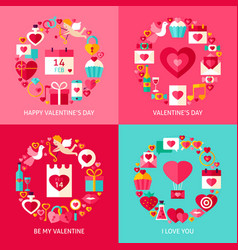valentine day concepts set vector image