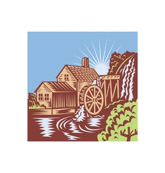 Water wheel mill retro vector