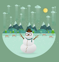 Winter park natural landscape in the flat style vector