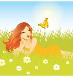 woman grass vector image