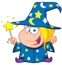 Wizard girl waving with magic wand vector