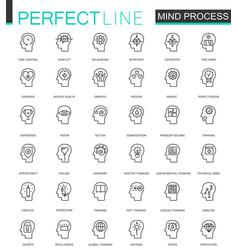 Human mind identity features thin line web icons vector