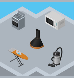 Isometric technology set of vac air extractor vector