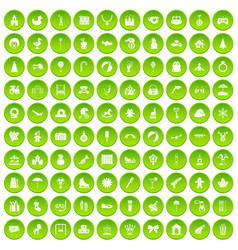 100 happy childhood icons set green circle vector