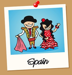 Spain travel polaroid people vector image