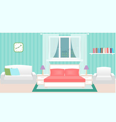 Bedroom interior with furniture and cityscape vector