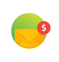 Mail envelope icon with dollar coins email send vector