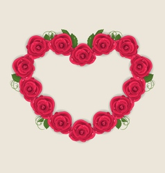 Floral postcard with heart made in roses for vector