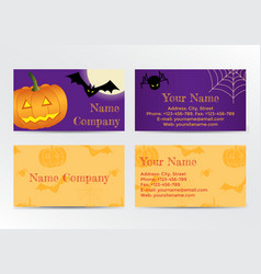 Set of halloween business cards vector