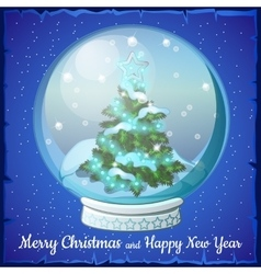Christmas ball with snowflakes and tree inside it vector image