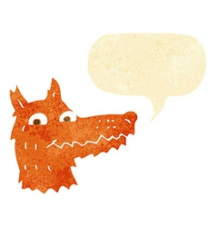 Cartoon fox head with speech bubble vector