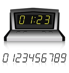 Digital metallic clock with set of numbers vector