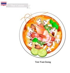 Tom yum goong or thai spicy and sour soup vector