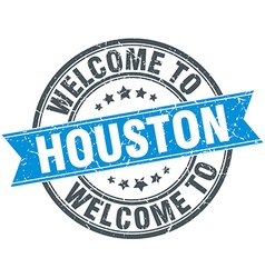 Welcome to houston blue round vintage stamp vector
