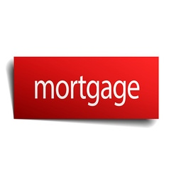Mortgage red square isolated paper sign on white vector
