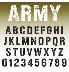Alphabet font army stamp design vector
