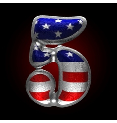 American metal figure 5 vector