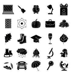 autumn school icon set black and white style vector image vector image
