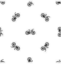 bicycle pattern seamless black vector image