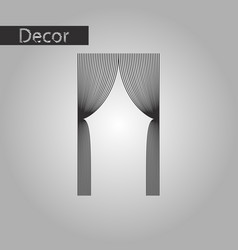 Black and white style icon curtains vector