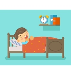 Boy sleeping in the bed vector