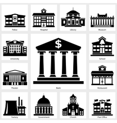 Building icons set vector image vector image