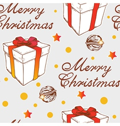 Christmas seamless pattern with gift vector image vector image