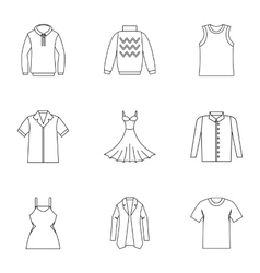 Clothing for body icons set outline style vector