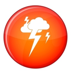 Cloud and lightning icon flat style vector